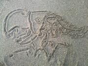 砂浜にネウロ描いてみた