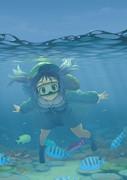 にとりは海の中では目を開けていられないタイプ