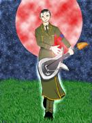 月を背景に平沢に軍服を着せてみた(緑)