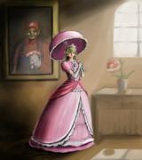 ピーチ姫を肖像画っぽく描いてみた