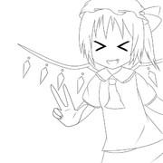 イエーイ!!☆(ヽω・)v(線画)