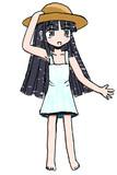 麦わら帽子白のワンピース黒髪ロングストレート