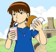 ハンバーガーを食べるシータちゃん