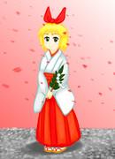 【お題お絵描き】巫女安中さんを描いてみました。