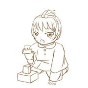 1人の女性の幼児〜大学を描いてみた(幼児)