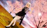 夕焼けの桜の下でニャル子さん