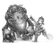のこぎり怪獣と少女