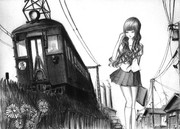 阪神電車と女子高生
