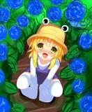 諏訪子と紫陽花(第九回ヒロ生お絵かき大会)