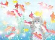 金魚を眺める仔猫