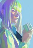 お茶を飲む女の子