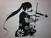 【切り絵】和服少女