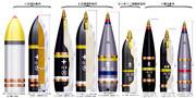 野戦重砲の各種戦用弾薬