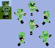 【Minecraft スキン】軍服:作業服+戦闘服アーマー(クリーパー迷彩)