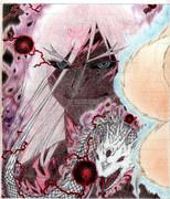 アナログ(手描き)蒼炎の九尾が創り出した