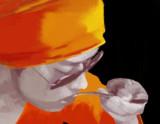 激辛カレーを食べるイケメン