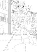 水の都の少女 線画