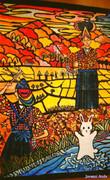 切り絵大壁画・鶏舞と夕焼け