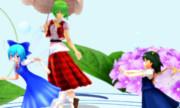 紫陽花の花と妖精達