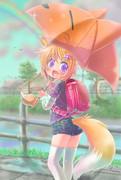 傘をさした子