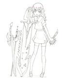 剣と制服少女(線画)