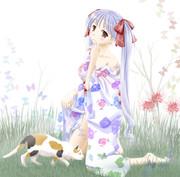 浴衣少女と猫