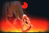 三日月が赤く燃え上がる