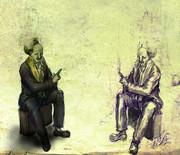 自分と会話する老人自身