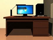PCと机(Pov-Ray)