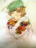 花を抱きしめてる人