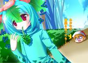 アオナが青菜を食べる