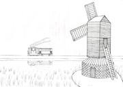 Tram & Windmill(線画・塗り絵)