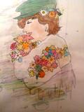 お花抱きしめてる人【カラフルver】