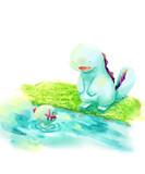 うちわ用イラスト⑤【題:水辺でおしゃべり】
