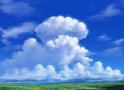 夏の大草原と入道雲――フリー素材