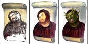 キリスト絵の修復画をさらに修復・・・