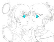 【色塗り募集】悪ノ娘のアレンとリリアンヌをかいたつもり。