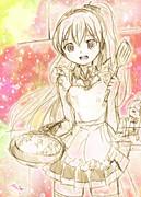 【ラフ】初音ミク「特製ネギ炒飯できました♪」