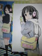クリアファイルの秋山澪を描いてみた