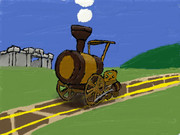 新 絵心教室で描いてみた 木製の機関車