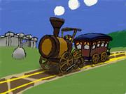新 絵心教室で描いてみた 木製の機関車 その2