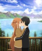 湖畔でキス