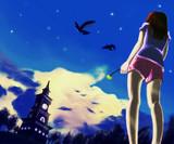 空と時計塔と女の子