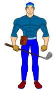 アキヒコ・ゴルフ選手、帽子とクラブ