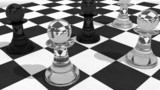 ガラス製のチェスの駒