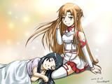 アスナの膝まくらで眠るユイ