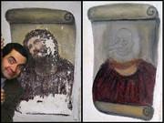 Mrビーンがフレスコ画を修復したようです。
