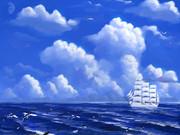 総帆展帆、追い手風