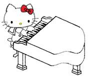 キティ ~ピアノのおけいこ~(まだまだ下描き&途中だけれど)