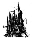 機械っぽい城を描いてみた